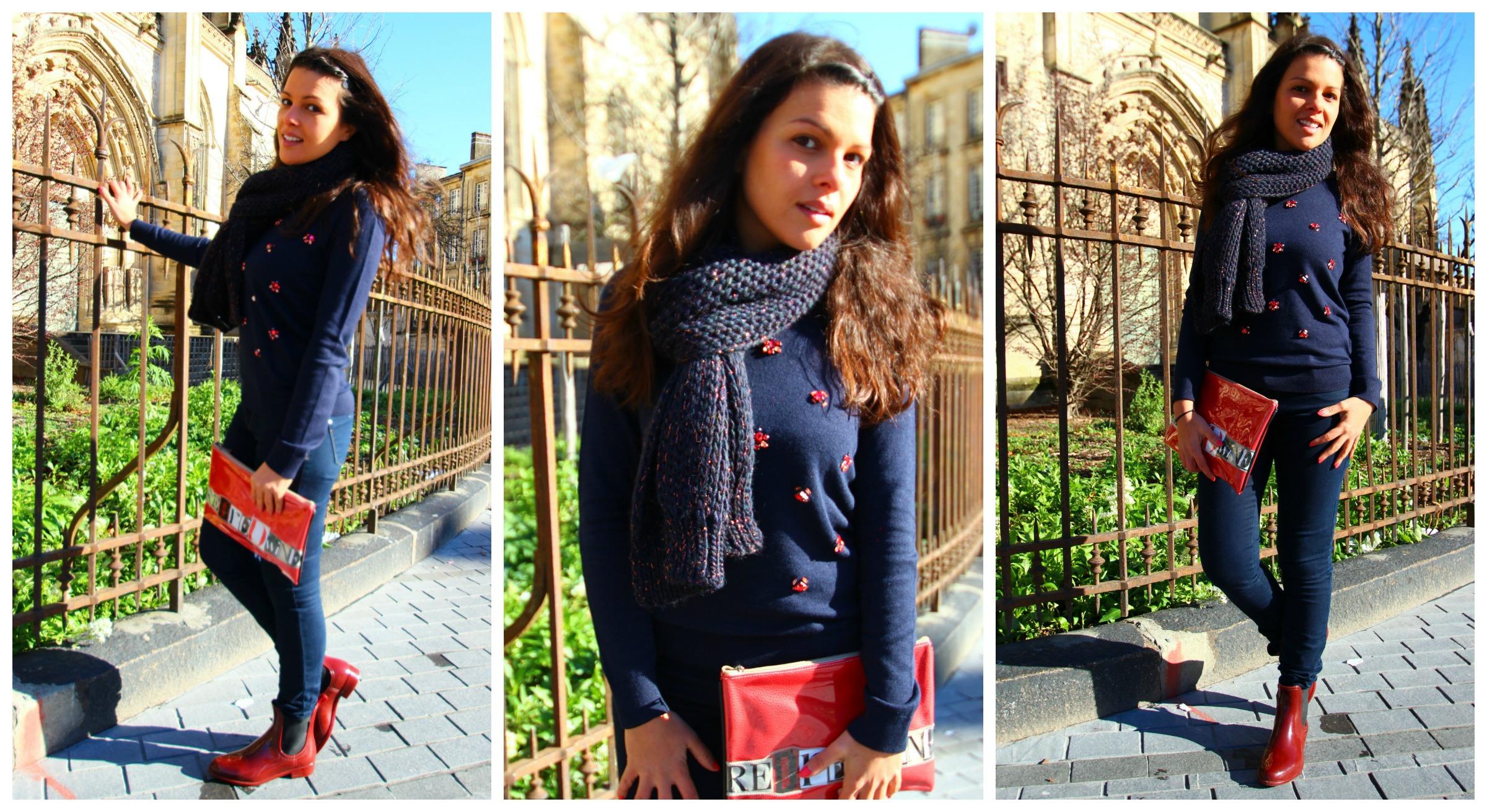 Pull bleu bottes de pluie bordeaux bordelaise by mimi for 70 portent un pull bleu