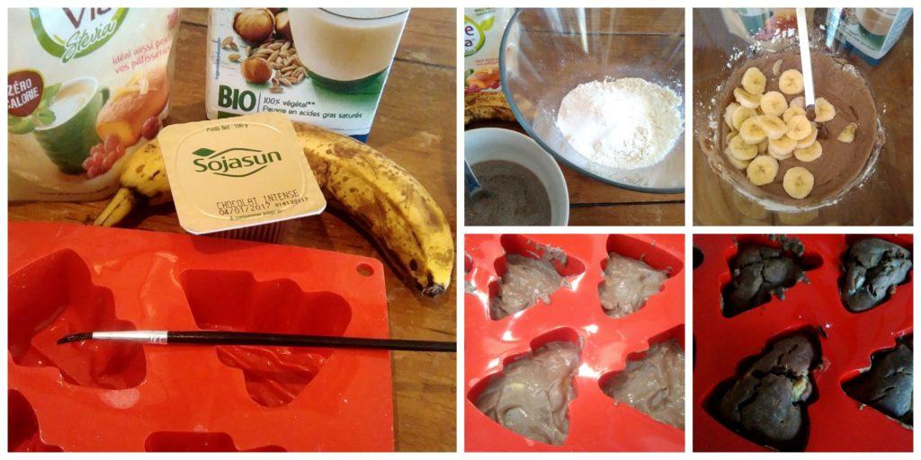 Ingrédients & Etapes de la recette Muffins Vegan Choco/Banane